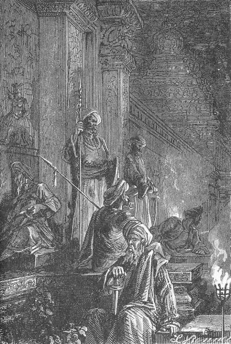 Les gardes des rajahs, éclairés par des torches…