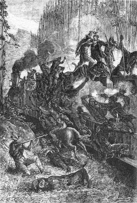 Les Sioux avaient envahi les wagons.