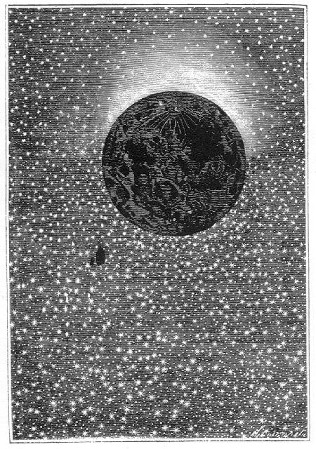 Contemplando el firmamento constelado, sobre el cual la ancha pantalla de la Luna dibujaba un enorme agujero negro.