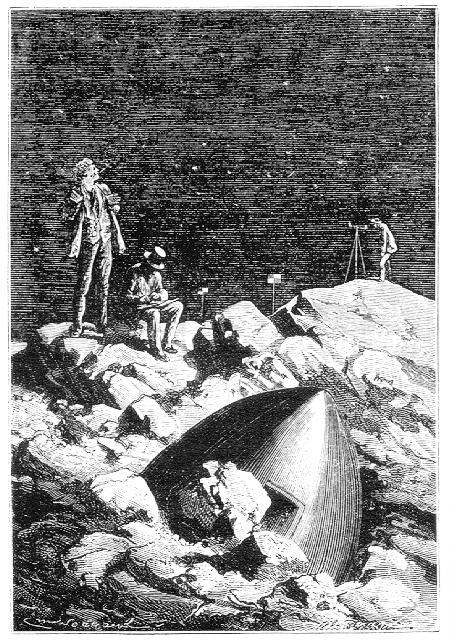 ...acampados al fondo de un valle, a orillas de cualquier río selenita, junto al proyectil medio hundido por la caída en medio de residuos volcánicos...