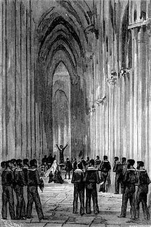 En la espaciosa nave el reverendo Morton imploró las bendiciones del Cielo y colocó la expedición bajo la salvaguarda de la Providencia.
