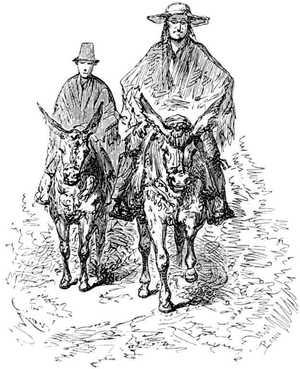 Paganel y Roberto no cabían de gozo en su pellejo cuando metieron la cabeza por la abertura del poncho.