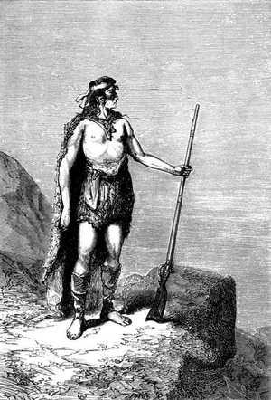 La figura del patagón era soberbia y su cara muy inteligente.