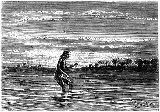 El primer cuidado de Paganel al llegar al Colorado, fue bañarse en sus aguas.