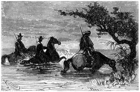 Llegaron al río Guamini, y se metieron hasta el pecho en la codiciada agua.