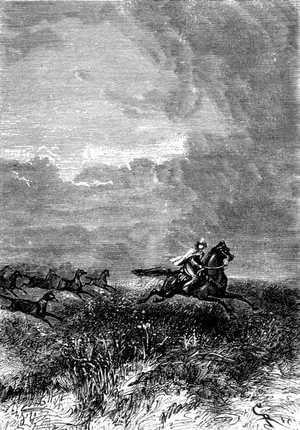Roberto, fuertemente agarrado a las crines del caballo, desaparecía en las tinieblas.