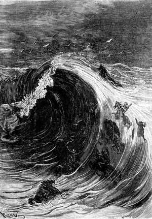 Una ola monstruosa de cuarenta pies de altura envolvió a los fugitivos con espantoso estrépito.