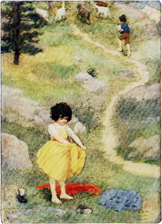 La niña se encontró en camiseta y enaguas.