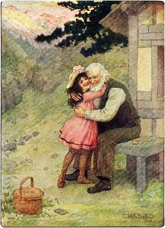 Dejó la cesta en el suelo y abrazó al abuelo