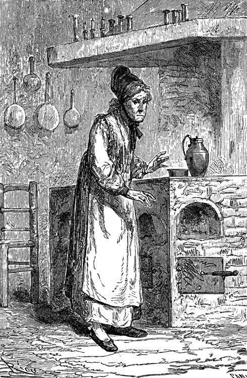 La vieja sirvienta volvió a su cocina gimoteando